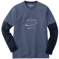 綿100%フェイクレイヤードプリントTシャツ