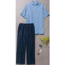 サッカー織シャツパジャマ/バンドカラー(半袖)