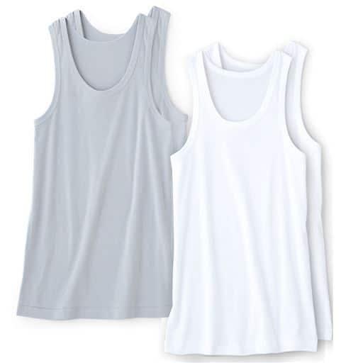 男の綿100%消臭・抗菌 ランニング(2枚組)