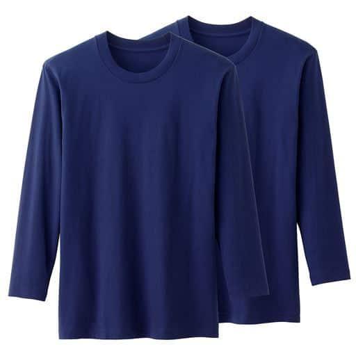 男の綿100%長袖クルーネックTシャツ・2枚組