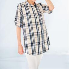 【ぽっちゃりさんサイズ】麻混7分袖シャツ