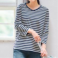シンプルVネックTシャツ(7分袖・綿100%)【ぽっちゃりさんサイズ】