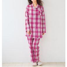 チェック柄のゆったり2重ガーゼシャツパジャマ(綿100%)