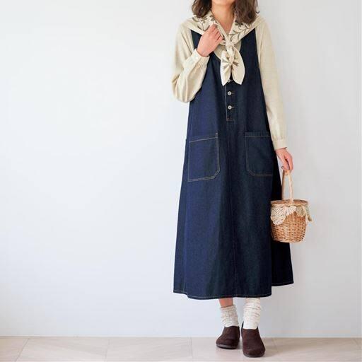 デニムジャンパースカート(綿100%)【ぽっちゃりさんサイズ】