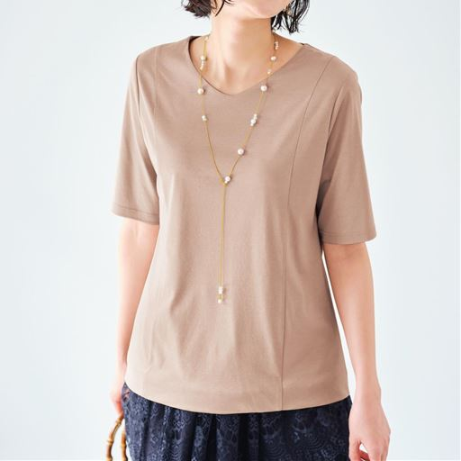 【ぽっちゃりさんサイズ】2枚仕立てVネックTシャツ(グラマーさん用サイズ有)(胸のサイズで選べる)