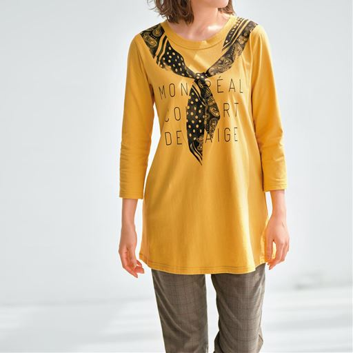 【ぽっちゃりさんサイズ】ロング丈クルーネックTシャツ(7分袖)(綿100%)