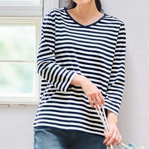 RecommendItem<br>【ぽっちゃりさんサイズ】シンプルVネックTシャツ(7分袖・綿100%・L~10L)
