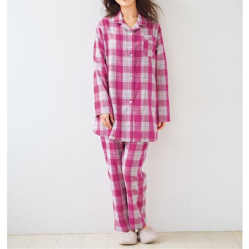 ゆったり2重ガーゼシャツパジャマ(チェック柄・綿100%)