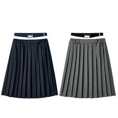 日本製単色プリーツスカート(スカートベルト付き)(スクール・制服)