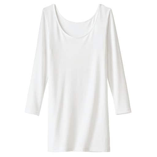 あったかスマートヒート お腹&腰回りをカバーするロング丈8分袖(衿ぐり広め)