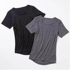 スマートヒート® 汗取りパッド付き3分袖インナー(定番タイプ 衿ぐり狭め)2枚組