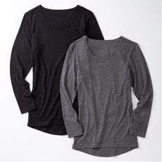 スマートヒート® 汗取りパッド付き8分袖インナー(衿元あったか 衿ぐり狭めタイプ)2枚組