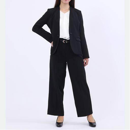 パンツスーツ(カラーレスジャケット・ワイドパンツ)