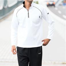吸汗速乾機能付き ドライハーフジップ胸ポケット付き長袖Tシャツ(ケースイス)メンズスポーツ