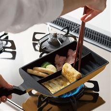早業 ツインシェフ/フライパン 2品一度に調理可能