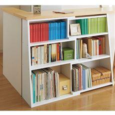 幅伸縮の出来るロータイプ書棚