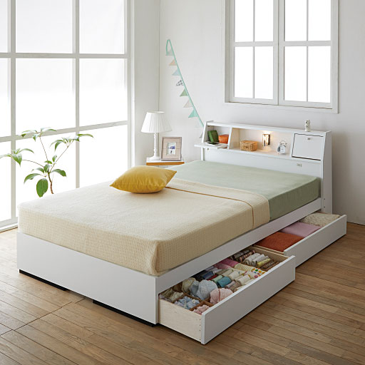 テーブル照明コンセント仕切り引出し付きベッド