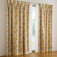 遮熱保温1級遮光裏地付きプリントカーテン(ローズ)