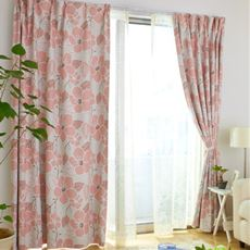 花柄遮光プリントカーテン