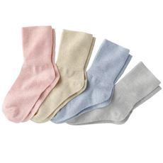 綿混しめつけません靴下4色組