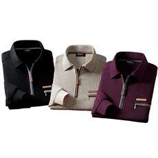 ミックス調ジップアップポロシャツ(色違い3枚組)