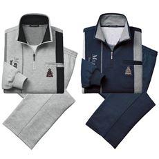股下選べる切替デザインホームスーツ(色違い2枚組)