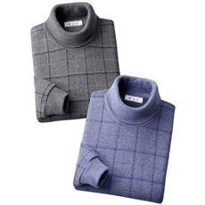 日本製暖かタートルネックシャツ(色違い2枚組)