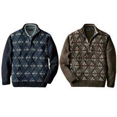 パトリチオ フランチェスカ ダイヤ柄ハーフジップセーター(色違い2枚組)