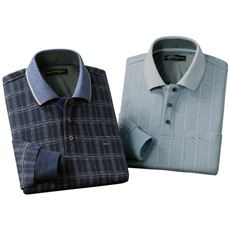 パトリツィオ フランチェスカ 楽開きチェック柄長袖ポロシャツ(色違い2枚組)