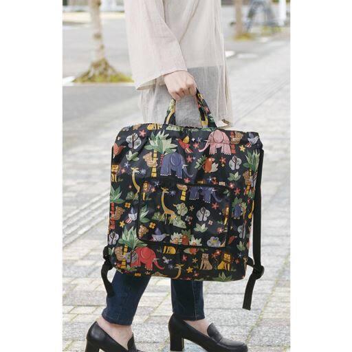 可愛いズー柄のコンパクト2wayバッグ