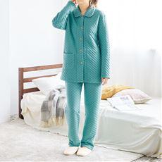 肌側綿100%厚手ニットキルトシャツパジャマ