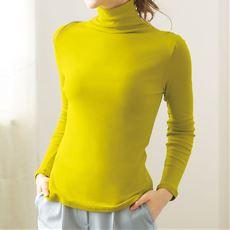 タートルネック10分袖(綿100% シフォン調素材の贅沢カットソー)