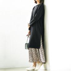 プリーツロングスカート/総柄プリント(洗濯機OK)