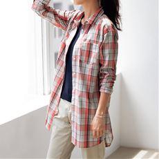 UVケア綿混ロングシャツ(洗濯機OK)