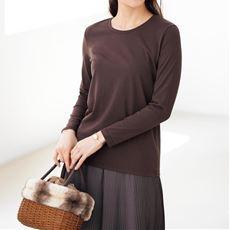 シンプルクルーネックTシャツ(長袖)(洗濯機OK)