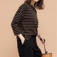 ハイネックボーダーTシャツ(7分袖)(綿100%・洗濯機OK)