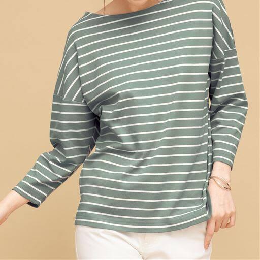ゆるシルエットボーダーTシャツ(8分袖)(綿100%・洗濯機OK)