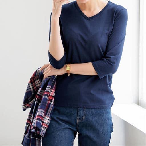 シンプルVネックTシャツ(七分袖)(洗濯機OK)