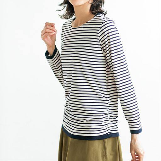 配色とシャーリングが可愛い綿混Tシャツ(洗濯機OK)