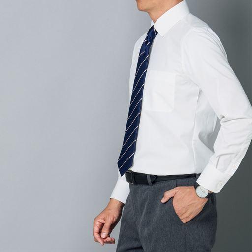 形態安定メンズビジネス白Yシャツ(長袖)/抗菌防臭・防汚加工 ...
