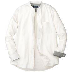 綿100%無地フランネル素材のバンドカラーシャツ