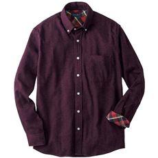 綿100%ソフトフランネル素材のボタンダウンシャツ
