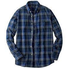 綿100%先染めチェック柄フランネル素材のボタンダウンシャツ