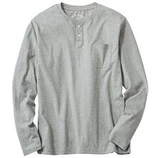 オーガニックコットン100%素材のヘンリーネックTシャツ(長袖)