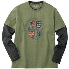 フェイクレイヤードプリントTシャツ/綿100%