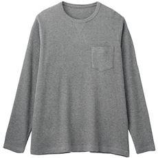 綿100%ワッフルカットソー素材クルーネックTシャツ