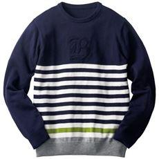 洗える・ウール混パネルボーダー柄ニット刺繍使いクルーネックセーター
