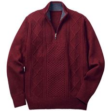 洗える・ウール混ケーブル編みニット素材のハーフジップセーター