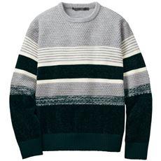 洗える・地柄ボーダーウール混ニット素材のクルーネックセーター