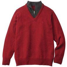 ストレッチ・ウール混ニットフェイクデザインセーター